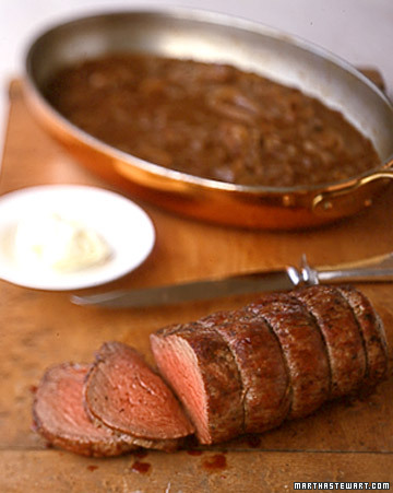 Pan-Seared Beef Tenderloin With Balsamic Onions And Port Sauce Recipe ...