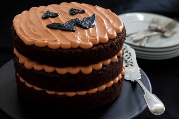 Halloween Chocolate Pumpkin Cake - One Tough Cookie