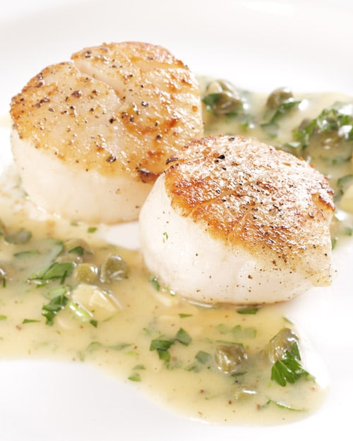 Seared Scallops with Brown Butter, Capers, and Toasted Almond Sauce Martha